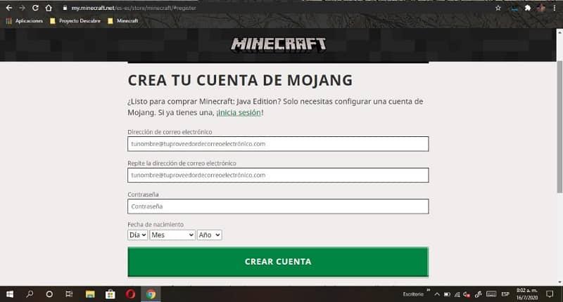 crear cuenta minecraft