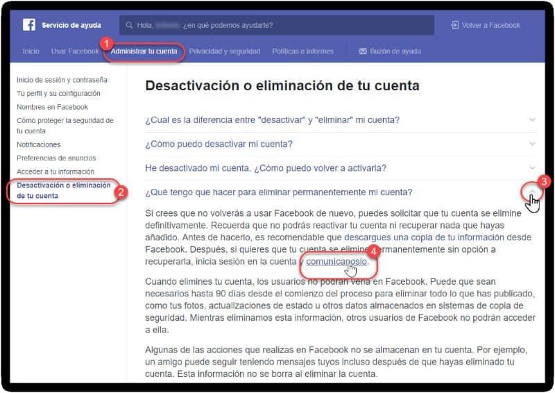 pantalla eliminar cuenta facebook