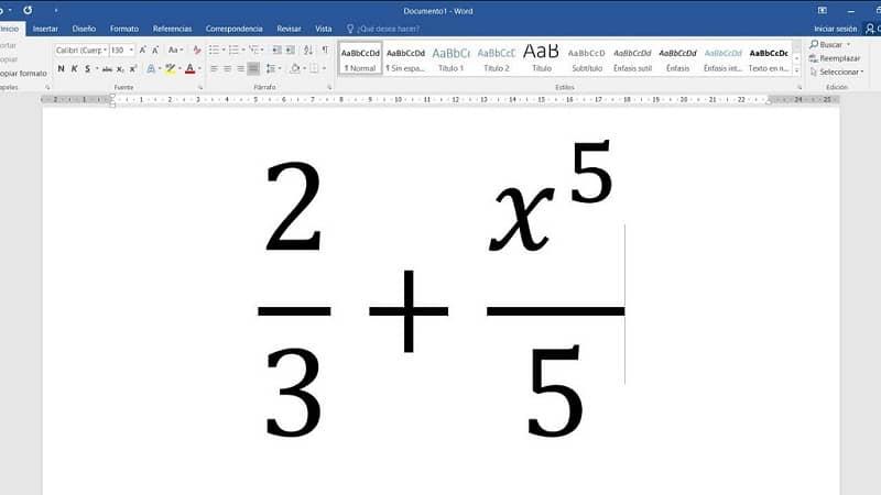 escribir fracciones en word