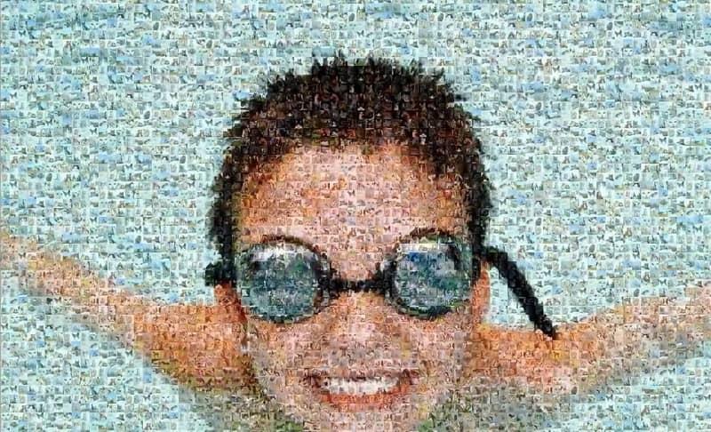 mosaico de un niño nadando