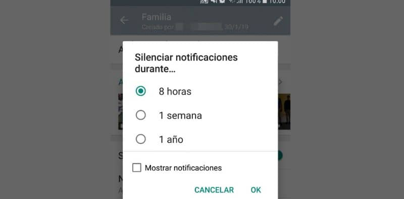 notificacion silenciada en whatsapp