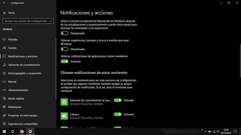 desactivar las notificaciones de alerta windows 10