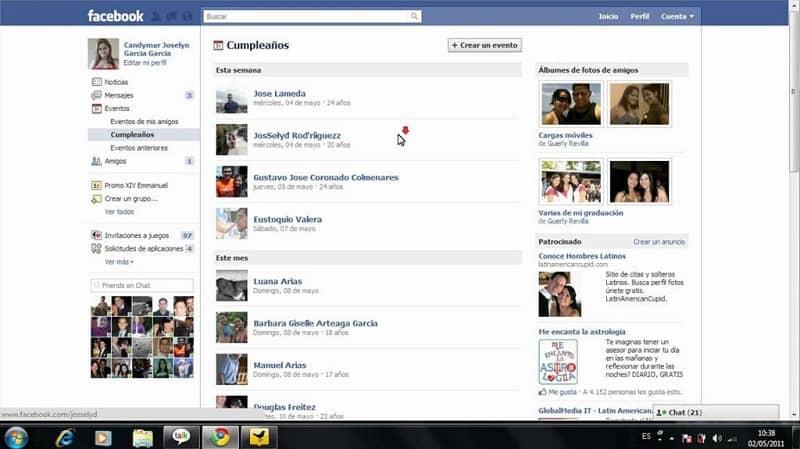 cumpleaños de mis amigos en facebook