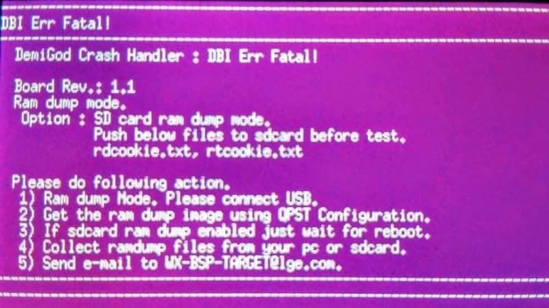 pantalla de error fatal