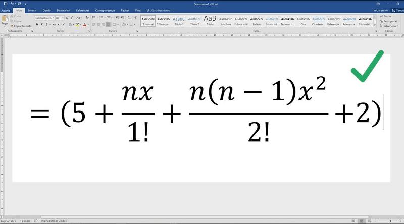 escribir correctamente la ecuacion en word