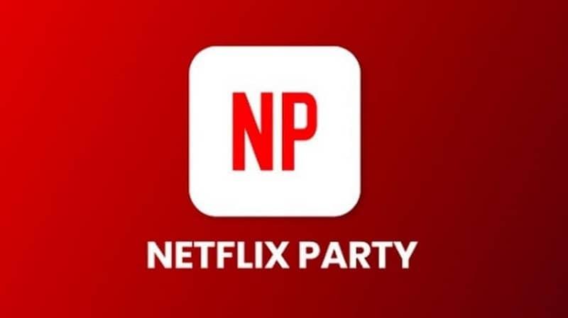 icono de netflix party fondo rojo