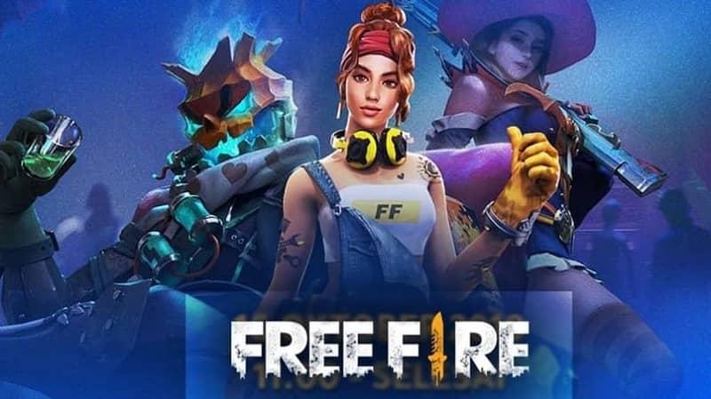 personajes femeninos free fire fondo azul