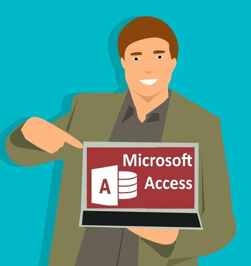 persona mostrando laptop con access